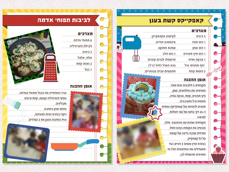 """מבחר עמודים מתוך ספר המתכונים של טבח השבוע, גן אמיר תשע""""ז"""