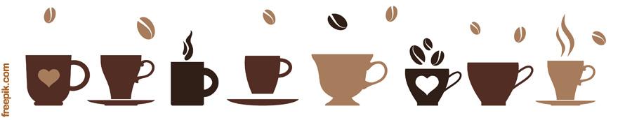 משוון של כוסות קפה